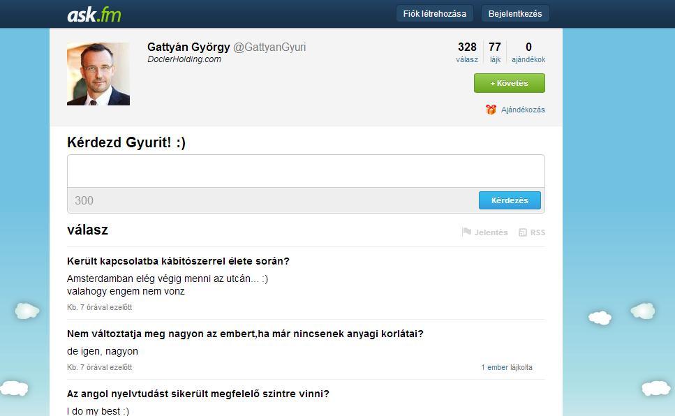 Kérdezd Gattyán Gyurit az Ask.fm-en