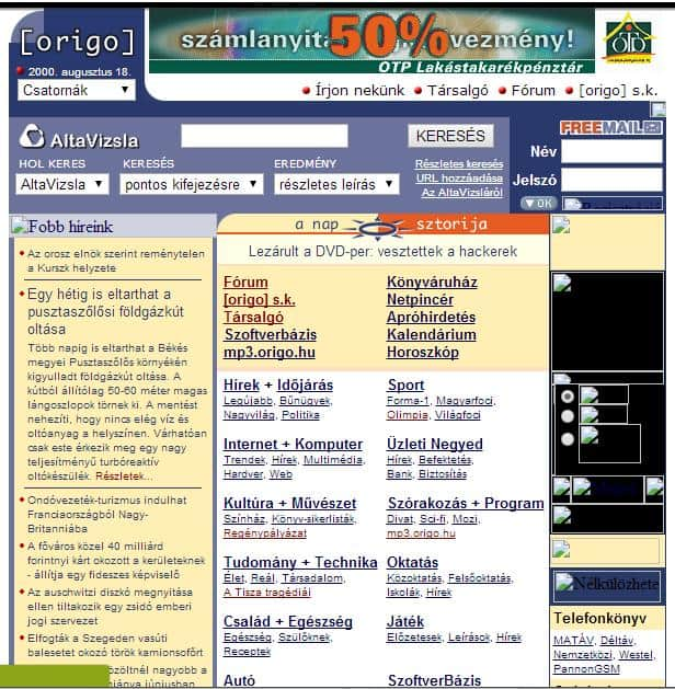 Origo régen - forrás: https://web.archive.org/web/20000818212627/http://www.origo.hu/