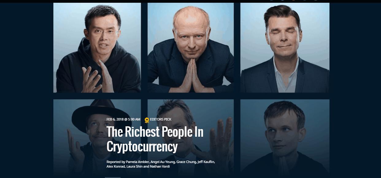 A Forbes elkészítette a kriptovalutából meggazdagodott emberek listáját