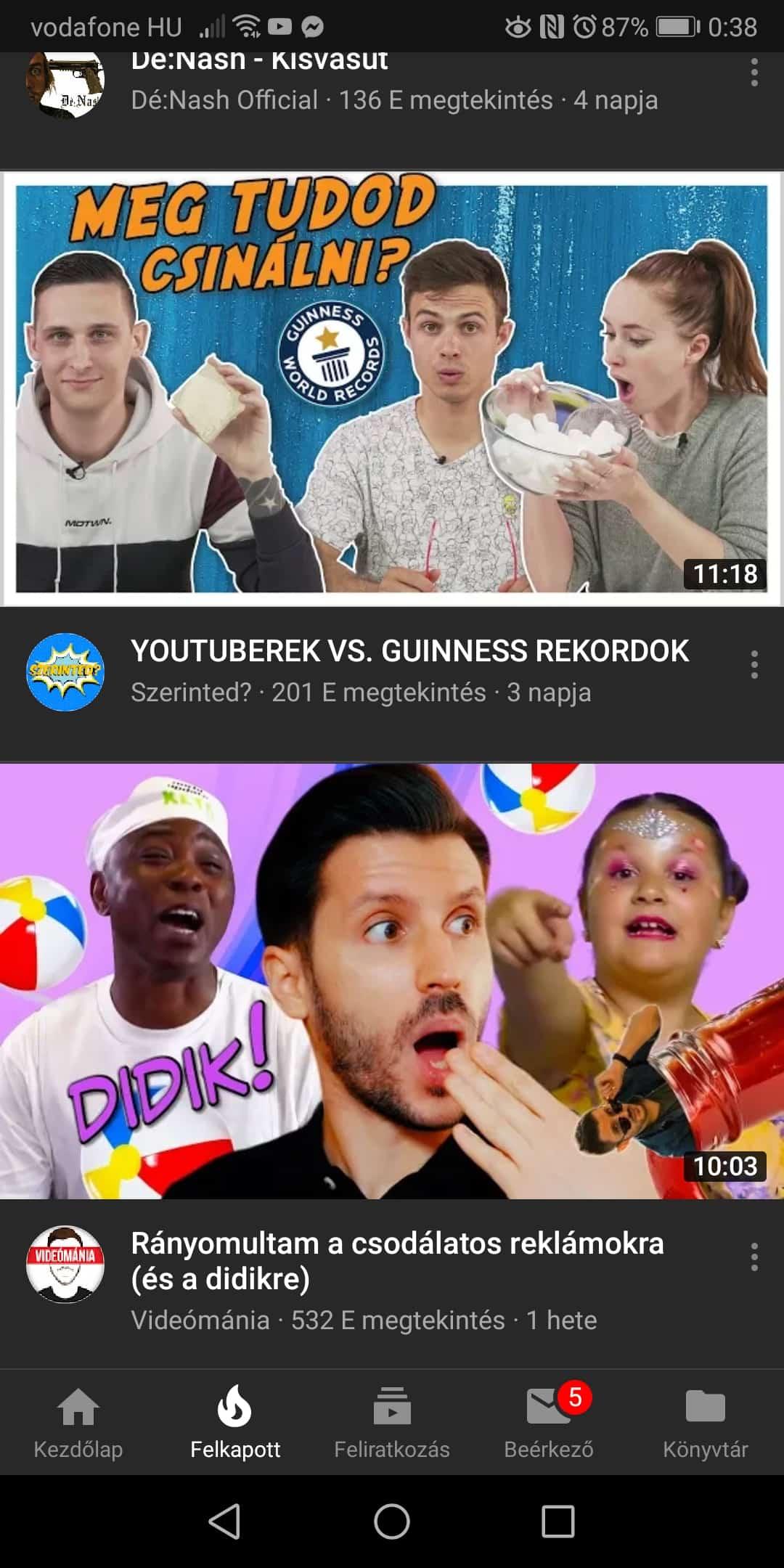 Népszerű Youtube videók