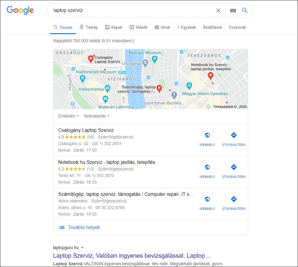Google térkép SERP funkció