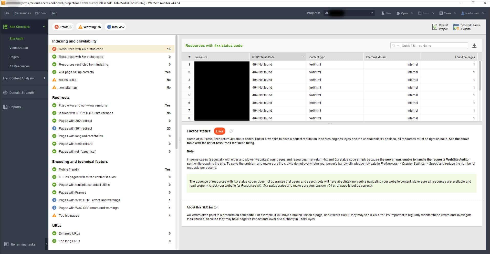Website Auditor technikai audit